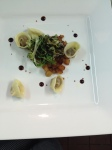 Chicken liver tortellini with grilled frisee and caramelized apples